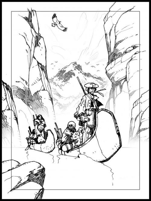 Boceto original de la portada de Lewis & Clark